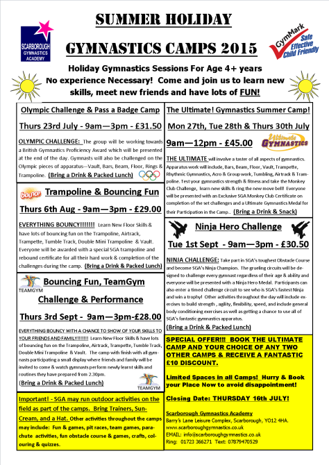 SGA Summer Gymnastics Camps 2015