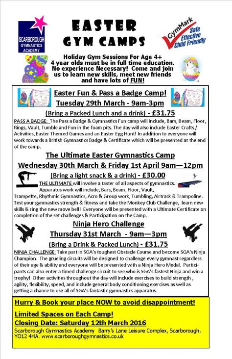 SGA Easter Camps 2016