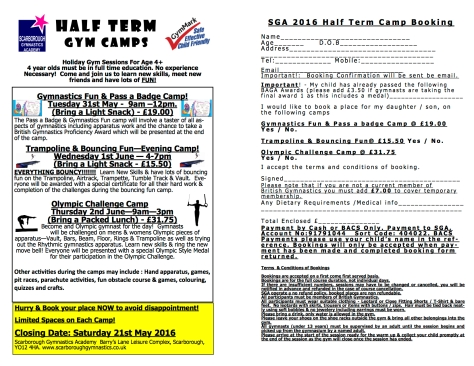SGA May Half Term Gymnastics Camps 2016