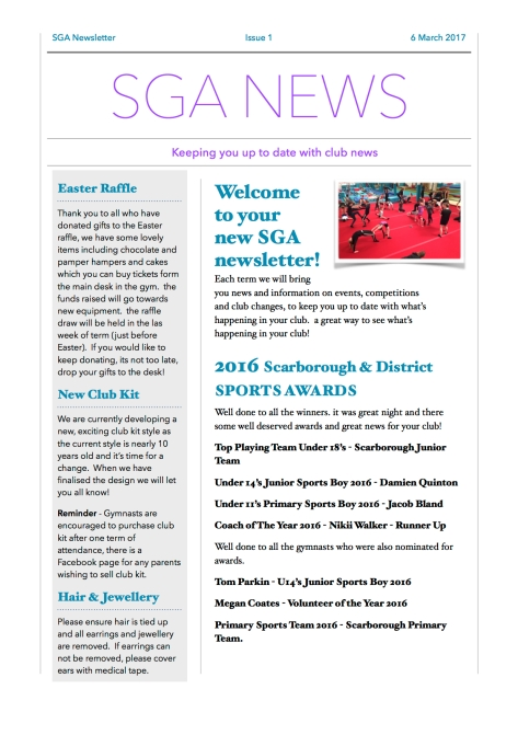 SGA Newsletter March 2017