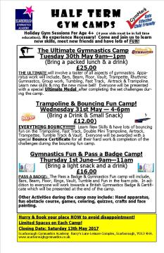 SGA May Half Term Camps 2017 Booking Form 1