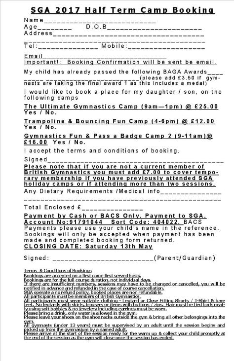 SGA May Half Term Camps 2017 Booking Form 2